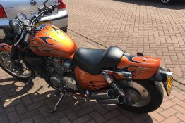 Honda motor custom paint old scool flames candy oranje www.fsb-dip.nl hydrodipping